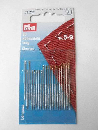Prym Long Sharps Sewing Needles Pack of 20 No 5-9