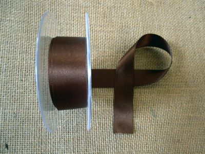 25mm Satin Ribbon Dark Brown