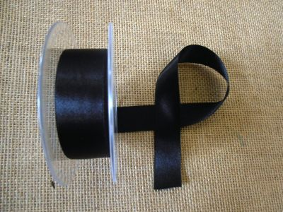 25mm Satin Ribbon Black
