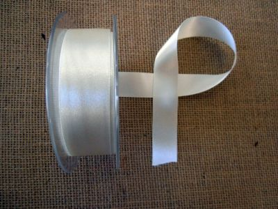 25mm Satin Ribbon Bridal White