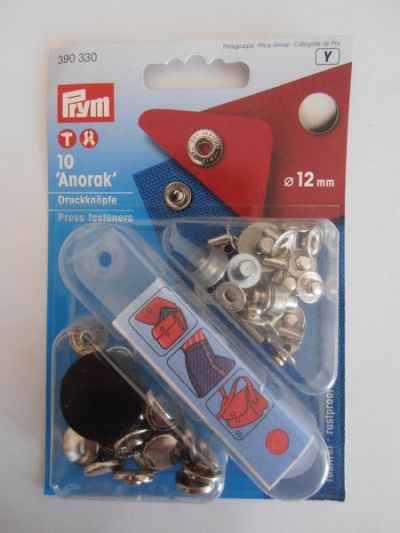 Prym Anorak Press Buttons Fasteners Silver 12mm