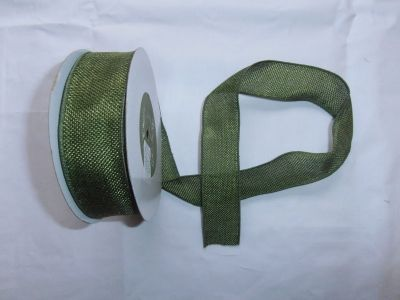 Faux Burlap Wired Ribbon Green
