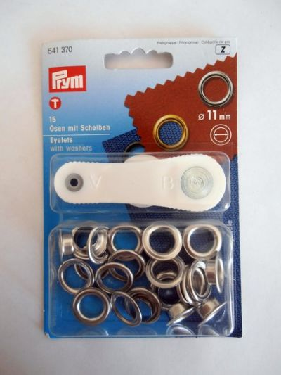 Prym Eyelets with Washers Silver 11mm