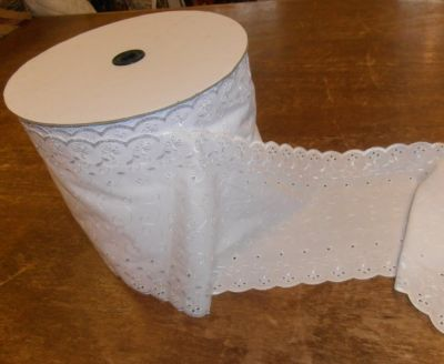 8 Inch Broderie Anglaise Trim White