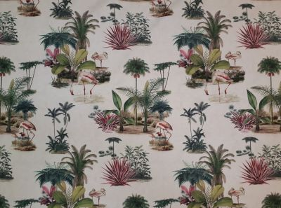 Victorian Botanical Flamingo Cream Pink Green A226