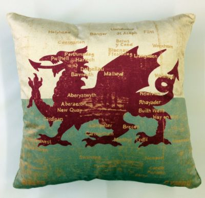 Textile Express Antique Velvet Dragon Map Cushion