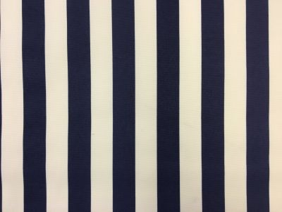 Beach Hut Stripe PU Coated Navy Blue C169