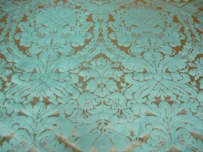 Faux Silk Damask Turquoise Silver