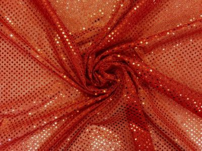 3mm Round Sequinned Net Red C1778