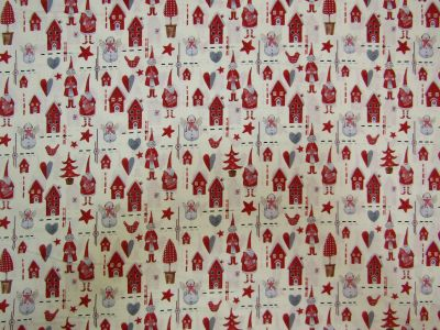Christmas Crafters Red Ivory Grey C318