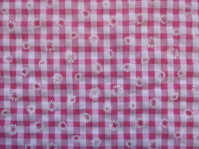 Daisy Gingham Check Polycotton Cerise