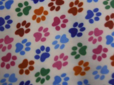 Paw Print Multi On Ivory Polar Fleece Fabric C6433