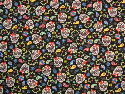 Day Of The Dead Skulls Black Multi I76