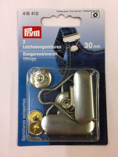 Prym Dungaree/Overall Fittings Silver 30mm 1 Pair