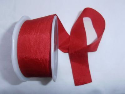 Faux Silk Ribbon Red