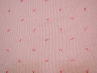 Embroidered Flamingo Pink, White C264