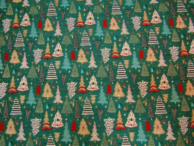 Christmas Forest Tapestry Green Gold H146
