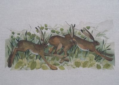 Voyage Cushion Panel Leaping Hares
