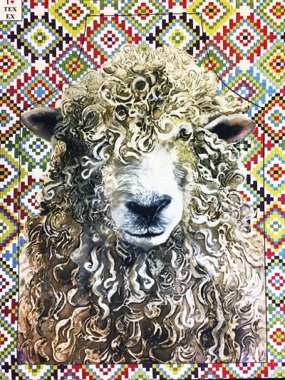 Farmyard Faces Longwool Ram Apron Aztec