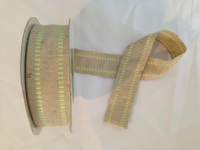 Stitch Detail Wired Cotton Ribbon Lime
