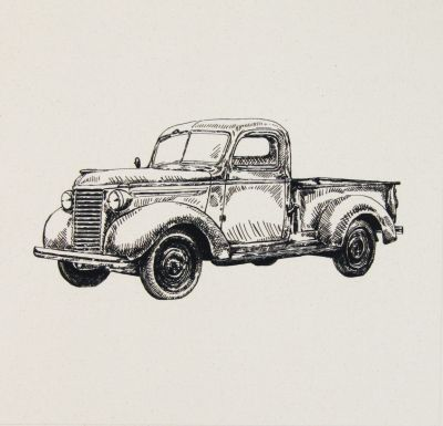 Organic Cotton Cushion Panel Vintage Vehicles Pickup Truck