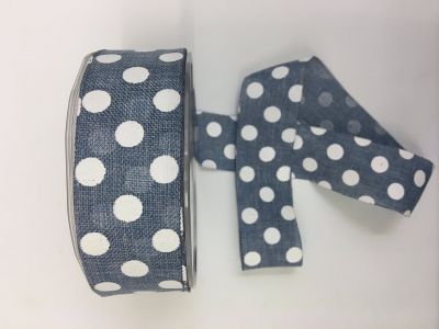 Polka Dot Faux Burlap Denim 023