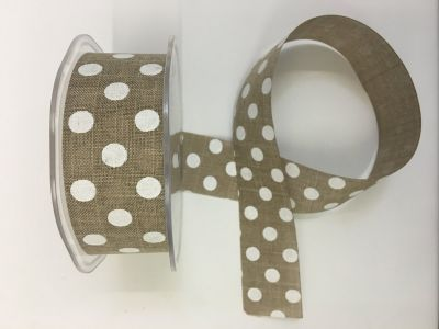 Polka Dot Faux Burlap Natural 045