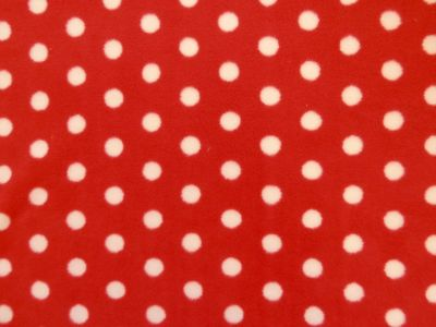 White and Red Spot Polar Fleece Fabric C5773
