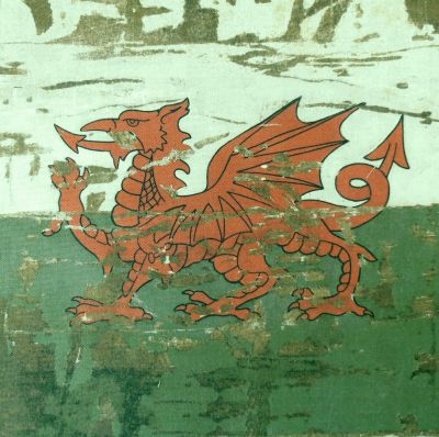 Cymru Retro Stone Washed Welsh Dragon Cushion Panel