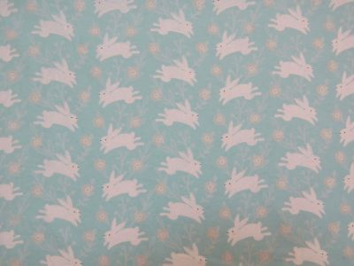 Brushed Cotton Running Rabbits Turquoise Ivory D78
