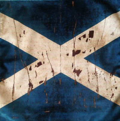 Vintage Scottish Flag Velvet Cushion Panel