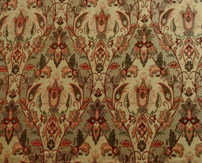 ST Trellis Design Tapestry Red Gold Fabric D15