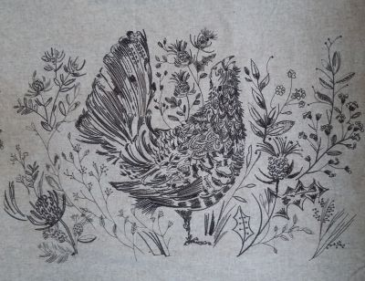Voyage Cushion Panel Sketch Capercaillie Embroidered Wool