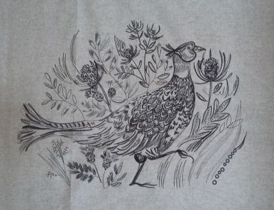 Voyage Cushion Panel Sketch Pheasant Embroidered Wool
