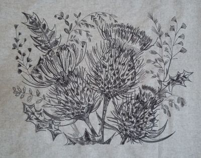 Voyage Cushion Panel Sketch Thistle Embroidered Wool