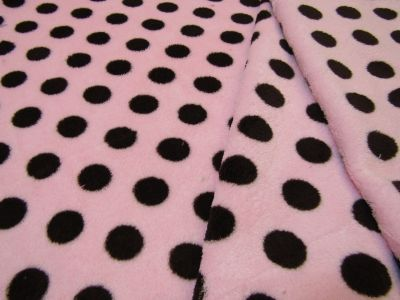 Spotty Cuddle Fleece Blush Pink Brown I46