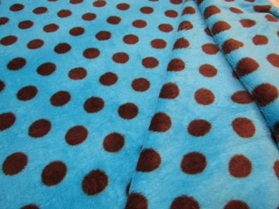 Spotty Cuddle Fleece Turquoise Brown I50
