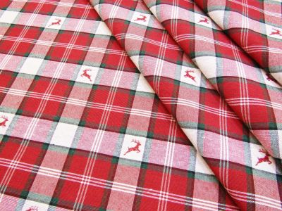 Stag Tartan Red White Green T253