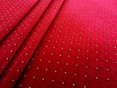 Beaded Stretch Velour Red Tex Ex 1333