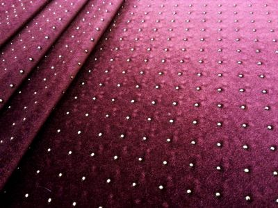 Beaded Stretch Velour Wine Tex Ex 1334