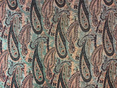 Shimmer Paisley Navy Orange Teal Tex Ex 1440