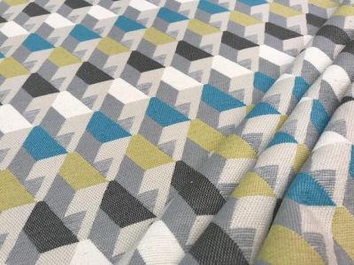 3D Stairs FR Chenille Blue Lime Grey Tex Ex 1841