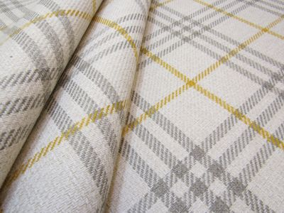 FR Greenwich Check Ivory Mustard Grey Tex Ex 1861