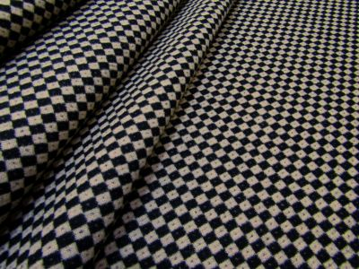 Checkerboard Wool Mix Beige Black Tex Ex 1908