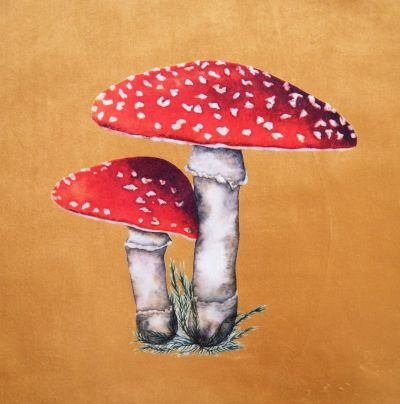 Velvet Cushion Panel Flora and Fauna Toadstool Gold