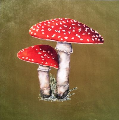 Velvet Cushion Panel Flora and Fauna Toadstool Olive