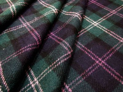 Wool Tartan Green Navy Purple U38
