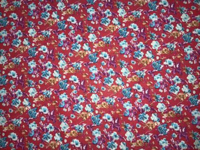 Flower Posy Brushed Cotton Deep Red Tex Ex 2252