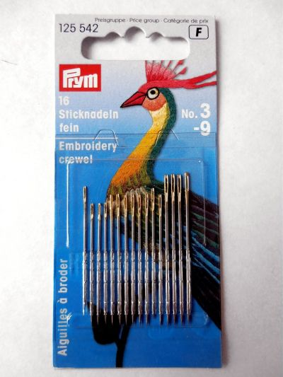 Prym Embroidery Crewel Needles Pack of 16 Assorted No 3-9