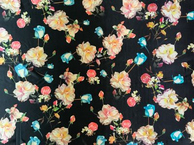 Rose Spandex Black Multi Tex Ex 1610